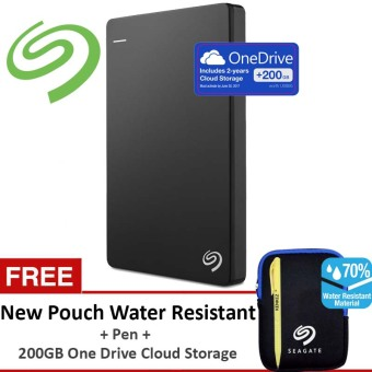 Seagate Backup Plus SLIM 1 TB - Hitam GRATIS Pouch Water Resistance + Pen + 200 GB One Drive Cloud Storage