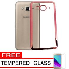 J7 Prime Silver Tempered Glass Softcase Silicon Jelly Case List Shining Chrome for .