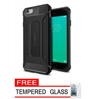 Softcase Tought Armor Series iPhone 6 Plus - Hitam + Tempered Glass