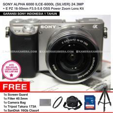 SONY ALPHA 6000 ILCE-6000L (SILVER) 24.3MP + E PZ 16-50mm F3.5-5.6 OSS Power Zoom Lens Kit + Screen Guard + SANDISK 16Gb + Filter 40.5mm + Camera Bag + Tripod Takara 173A
