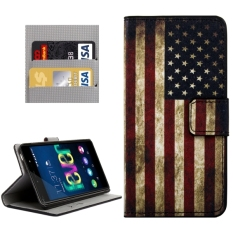 Stars and Stripes Patterns Horizontal Flip Leather Case with Magnetic Snap & Card Slots & Holder & Wallet for Wiko Fever