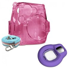 Takashi Pink Crystal Protective Case + Grape Selfie Close-up Lens For Fujifilm Instax Mini 8 Instant Camera