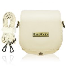 Takashi Protective PU Leather Bag With Strap For Fujifilm Instax Mini 8 Instant Camera (White)