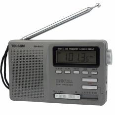 Tecsun DR-920C Radio FM MW SW 12 Band Digital Clock Alarm Receiver & Backlight FM Portable Radio (Grey)