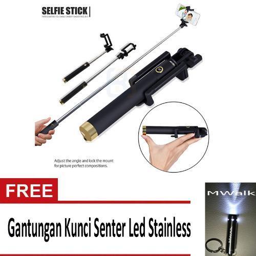 Tongsis Monopod Kabel/ Selfie Stick 3Generations- Gold+ Gantungan Kunci Stainless (Gold)