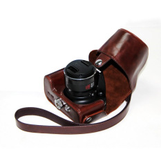 Top PU Leather Camera Case Bag Cover With Shoulder Strap For Canon SX50 HS Coffee (Camera Not Included)
