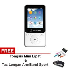 Transcend MP3 / MP4 Player T-Sonic MP71.8GB With G-Sensor And Fitness Mode - Putih + Gratis Sport Running Armband Tas Lengan 618 & Tongsis Monopod Lipat