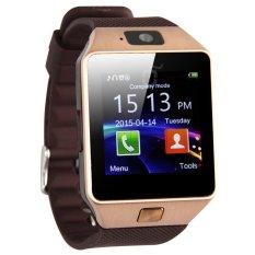 U Watch U9 Smartwatch DZ09 Sim Card Micro SD Android - Strap Karet - Hitam Gold