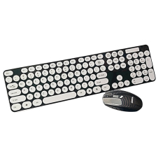 Ultra Silent Wireless 2.4G Round Key Keyboard And Mouse Set With USB Bluetooth Receiver For PC Laptop Smart TV Black