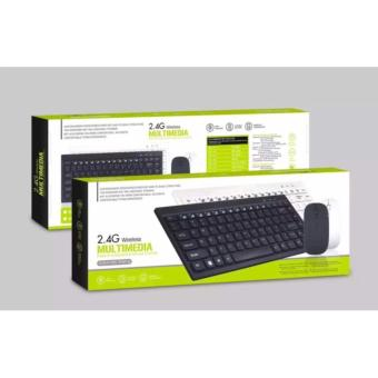 Unique Combo Keyboard Mouse Wireless Slim For PC Apple Laptop -Hitam