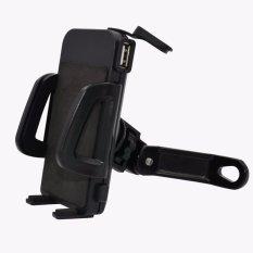 uNiQue Holder Motor With USB Charger Smartphone for Motorcycle - Spion Holder Motor Charger Aki Untuk Vario Mio JUpiter MX Hitam