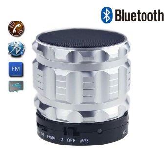 uNiQue Speaker Bluetooth Portable Mini Dengan AUX Fdisk Micro SD FM Radio Crystal S28 Abu-