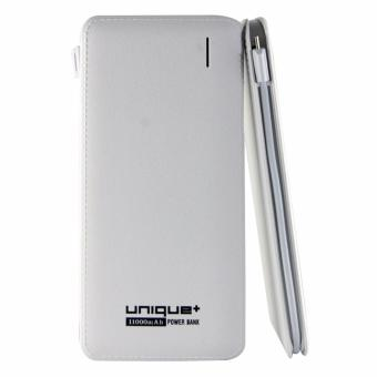 uNiQue Ultra Slim Power Bank with Micro Cable 11000mAh White