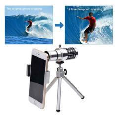Universal Lensa Telezoom 12X Optical Zoom Clip-On Aluminum Mobile Phone Telephoto Manual Focus Telescope Phone Lens (Silver)