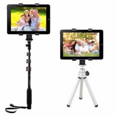 Universal tumpuan kaki tiga gunung pemegang golongan 0.64 cm adaptor untuk benang 7 inci~10,1 inci tablet iPad Hitam (International)