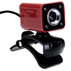 USB 2.0 1080.8.0MP 4 LED HD Webcam Web Cam Camera MIC For Laptop Computer Red