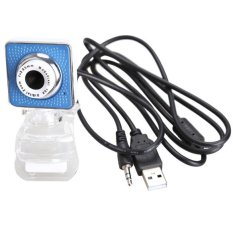 USB 2.0 360 Degree Rotation Web Camera Webcam with Mic For Laptop Desktop (Blue)