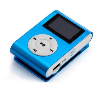 USB Clip MP3 Player LCD Screen Support 32GB Micro SD TF Card Blue Free Shipping