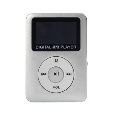 USB Digital MP3 Player LCD Screen Support 32GB Micro SD TF Card (Sliver)