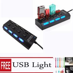 Usb Hub 2.0 4 Port 4 Switch On Off + Gratis Lampu LED USB