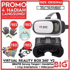 VR Box 2.0 3D Virtual Reality Glasses Cardboard Movie & Game Gratis Sarung Tangan + Waterproof Smartphone + Iring Stand + Handsfree