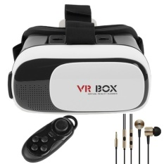 VR Box II 3D Gear Glasses Virtual Reality Headset With JoystickGamepad Bluetooth Controller & Mi Piston Earphone (White)