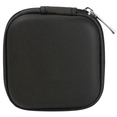 Warna Tas Mini Square Kasus Pemegang Kotak Penyimpanan Untuk Di-telinga Headphone Headset Hitam Bahan PU