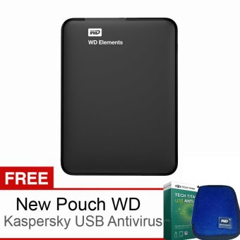 "WD Elements - 1TB - 2.5"" - Hitam + Gratis New Pouch dan USB Antivirus Kaspersky"