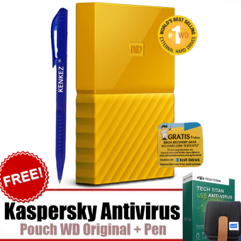 "WD My Passport ULTRA New Design 1TB Portable Storage USB 3.0 - Kuning Harddisk Eksternal 2.5"" + Gratis Kaspersky USB Antivirus + Pouch WD Original + Pen"