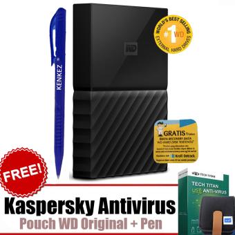 "WD My Passport ULTRA New Design 1TB Portable Storage USB 3.0 - Hitam Harddisk Eksternal 2.5"" + Gratis Kaspersky USB Antivirus + Pouch WD Original + Pen"