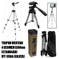 Weifeng Portable Tripod Stand 4 Section Aluminium Legs with Brace WT-3110A - Silver