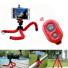 Wireless Bluetooth Remote Shutter Button + Flexible Holder Octopus Selfie Stand Tripod For Smartphone And Camera (Red) - Intl