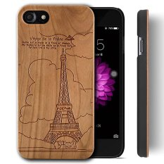 Wooden Case for Apple iPhone 7 [4.7 inch] , Wood Smartphone Case, YUANQIAN Unique Handmade Natural Solid Wood Engraving Wave Case Wood Wave(Eiffel Tower) - intl