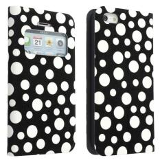 xfsmy Black and White Polka Dots Glitter Stand Folio FlipProtective Cover Synthetic Leather Case with Window