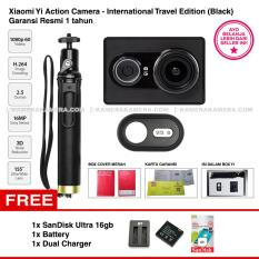 Xiaomi Yi Action Camera - International Travel Edition Black - Camera, Bluetooth Shutter, Monopod Original - Garansi Resmi + SanDisk Ultra 16gb + Battery + Dual Charger