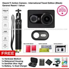 Xiaomi Yi Action Camera - International Travel Edition Black - Camera, Bluetooth Shutter, Monopod Original - Garansi Resmi + SanDisk Ultra 16gb + Battery + Dual Charger + Hardcase Medium + Waterproof Housing