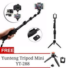 Yunteng YT-1288 Tongsis Monopod with Remote Bluetooth Function + U Holder + Tripod Mini Yunteng 228
