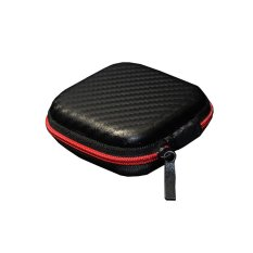Zenith Knowledge High Quality Leather Earphones Storage Case Bag - Black / Red