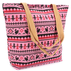 2015 Brand New Women Canvas Bags Tote Large Capacity Shoulder Bag Women Handbag Retro Zipper Casual Beach Bag Bolsas Femininas Pink