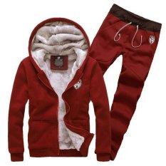 2015 Winter Thick Fur Fleece Leisure Men Hoodies And Sweatshirts Casual Men Sportswear Tracksuit Sports Suit Set R2000 (Intl)