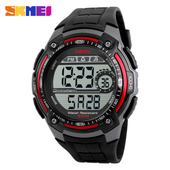 2016 Fashion Sports Brand Men Digital Military Watch Multifunction Skmei Waterproof Outdoor LED Casual Watches Male (Red)