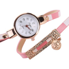 2016 New Fashion Women Watch PU Leather Bracelet Watch Casual Women Wristwatch Luxury Brand Quartz Watch Relogio Feminino Gift (Pink)