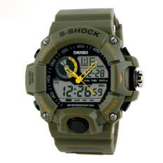 2016 Quartz Digital Camo Watch Men Dual Time Man Sports Watches Men Skmei S Shock Military Army Reloj Hombre LED Wristwatches (Green)
