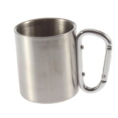 220ml Stainless Steel Outdoor Camp Camping Cup Carabiner Hook Double Wall