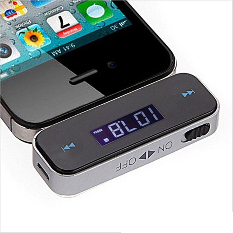 3.5mm Car Radio LCD Display FM Transmitter Cable For iPhone 4S 5S 6 ipod Touch MP3 Cell Phones Black (Intl)