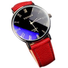 3 Colors Fashion Quartz Watch Luxury Simple Style PU Leather Straps Watches For Men And Women Clock Wristwatches Relojes Red (INTL)