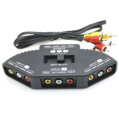 3-Way Audio Video AV RCA Black Switch Box Splitter (Intl)