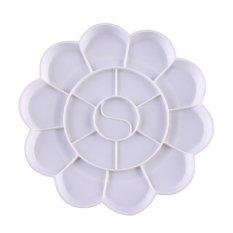 10 Pcs 18-Compartment Plum Blossom Shaped Art Paint Color Mixing Tray Palette White