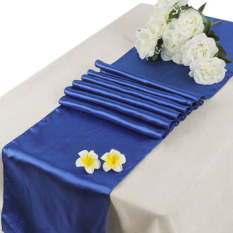 10Pcs Blue 12 x 108inch Satin Table Runners Wedding Party Decorations Suppl (Intl)
