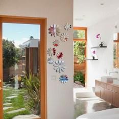 12 Buah Kreatif Akrilik 3D Bunga Stiker Dinding Seperti Cermin Perak